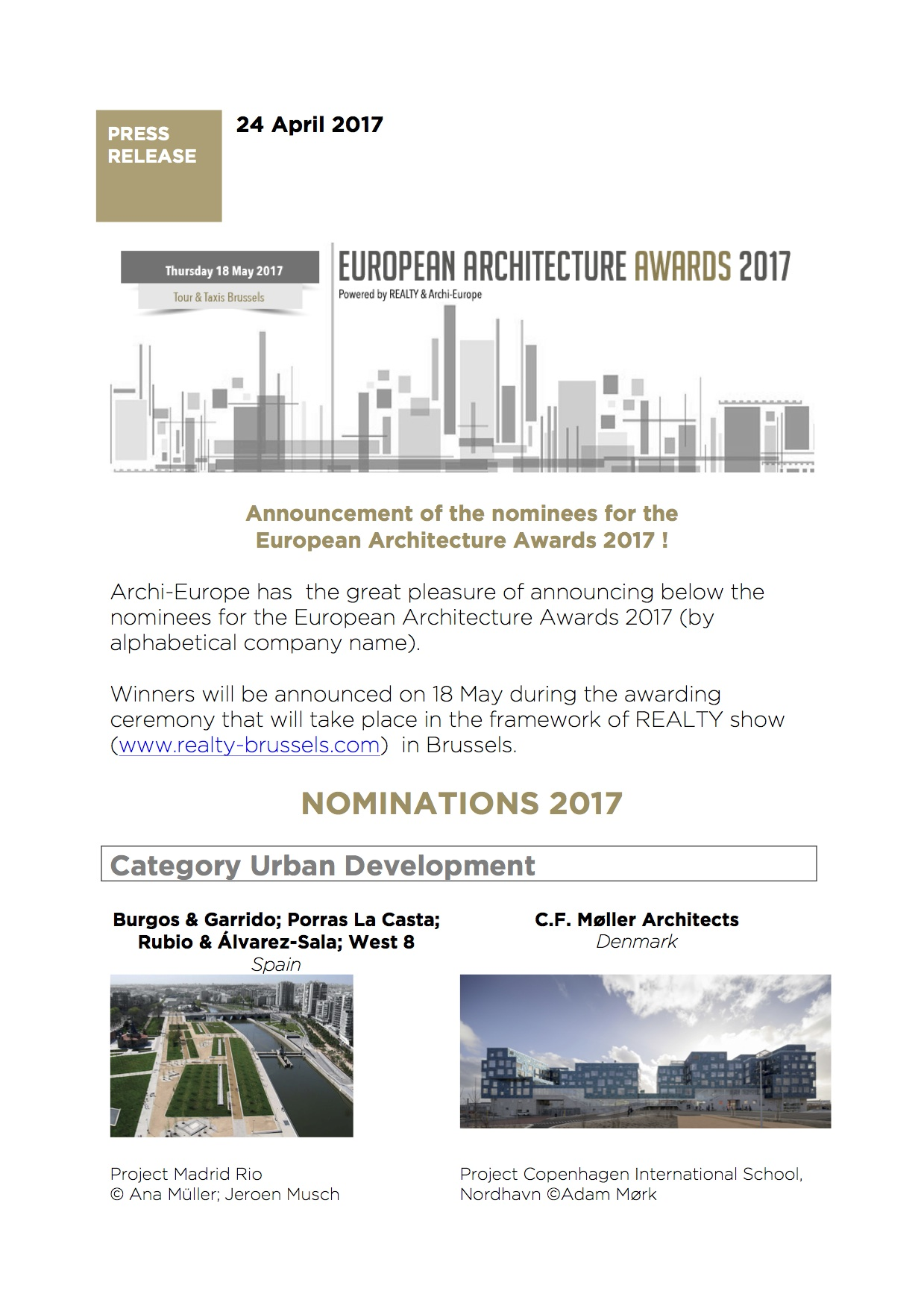 PR European Architecture Awards2017 nominees
